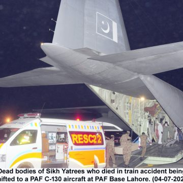 PAF C-130 AIRCRAFT CARRYING DEAD BODIES OF SIKH YATREES FROM LAHORE LANDS AT PAF BASE PESHAWAR