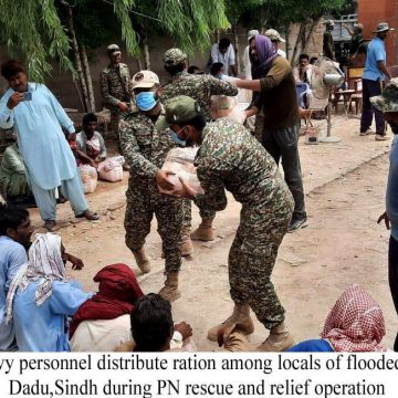 PAKSITAN NAVY CONTINUES RESCUE & RELIEF OPERATION AT DADU, CELEBRATES INDEPENDENCE DAY WITH LOCAL POPULACE