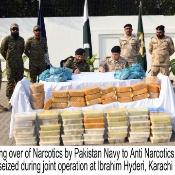 PAKISTAN NAVY AND ANTI NARCOTICS FORCE SEIZE DRUGS IN A JOINT OPERATION AT KARACHI